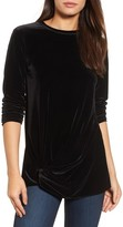Halogen Women's Twist Front Velvet Top