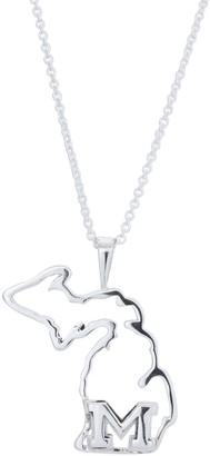 Women's Dayna Designs Silver Michigan Wolverines Team State Outline Necklace