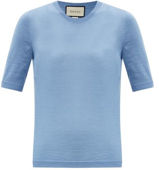 Gucci Short-sleeved Cashmere Sweater - Blue