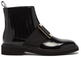 Roger Vivier Rangers Buckled Patent-leather Chelsea Boots - Black