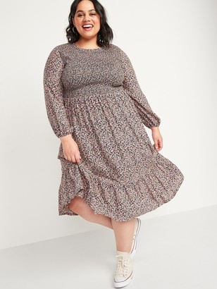 Old Navy Smocked Floral-Print Fit & Flare Plus-Size Midi Dress