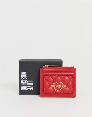 Love Moschino faux leather card holder-Red