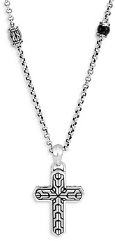 John Hardy Sterling Silver Classic Chain Onyx Cross Pendant Necklace, 22