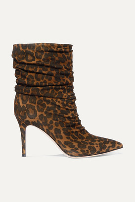 Gianvito Rossi Cecile 85 Leopard-print Suede Ankle Boots - Leopard print