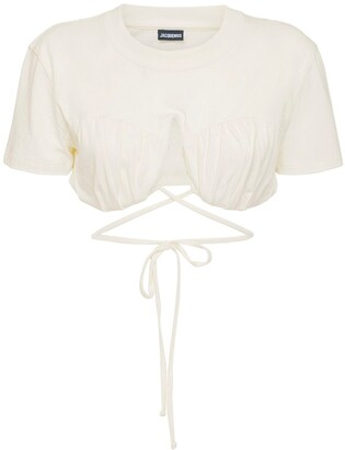 Jacquemus Self-Tie Cropped Cotton Jersey T-Shirt