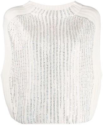 Twin-Set Diamante Sleeveless Knitted Vest