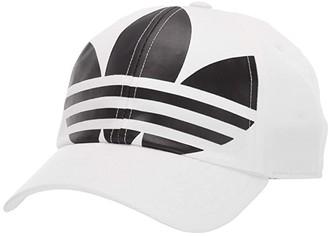 adidas Originals Big Trefoil Relaxed Adjustable Strapback Cap (Black/White) Caps