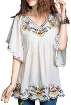 Kafeimali Women's Casual Embroidery Butterfly Sleeve Tops Shirt Tunic Blouse , fits to M.