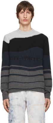 Off-White Black and Grey Intarsia Sweater