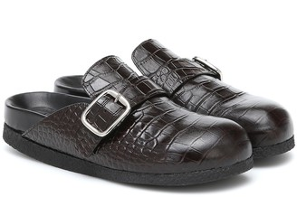 Joseph Croc-effect leather slippers