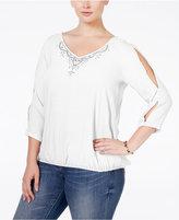 NY Collection Plus Size Cold-Shoulder Blouson Top