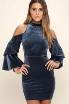 LuLu*s Love Like Ours Slate Blue Velvet Long Sleeve Dress