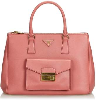 Prada Pink Saffiano Lux Galleria Double Zip Pocket Tote