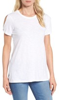 Caslon Slub Cotton Cold Shoulder Tee (Regular & Petite)