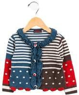 Catimini Girls' Striped Ruffle-Trimmed Cardigan