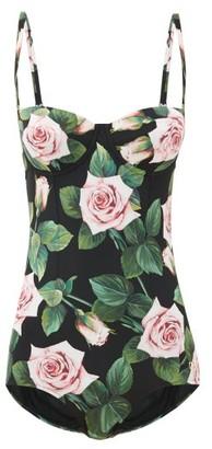 Dolce & Gabbana Bustier Rose-print Underwired Swimsuit - Womens - Black Print