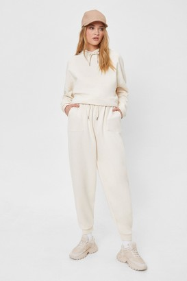 Nasty Gal Womens Grocery Run High-Waisted Relaxed Joggers - Cream - 4