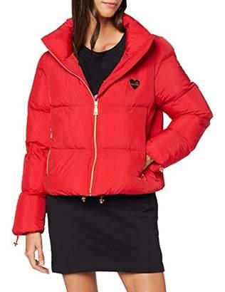 Love Moschino Women's Puffa Jacket_Golden Heart Badge Bomber,(Size: 40)