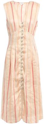 Joie Striped Linen-blend Midi Dress