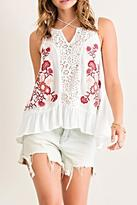 Entro Embroidered Tiered Tank