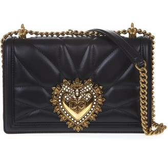 Dolce & Gabbana Black Medium Devotion Bag In Quilted Nappa Leather