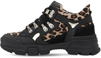 Florens LEOPARD PRINT LEATHER & SUEDE BOOTS