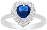 Bliss Blue & White Cubic Zirconia Double Halo Heart-Cut Ring