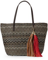 Imoshion Brown Baye Tasseled Woven-Front Tote