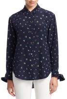 Theory Tie-Cuff Floral Blouse