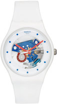 Swatch Unisex Swiss Horseshoe White Silicone Strap Watch 41mm SUOW129