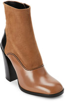 Jil Sander Brown & Black Mixed Media Block Heel Boots