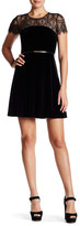 Jessica Simpson Lace & Velvet Belted Dress