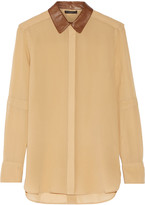 Belstaff Deyton leather-trimmed silk-georgette shirt