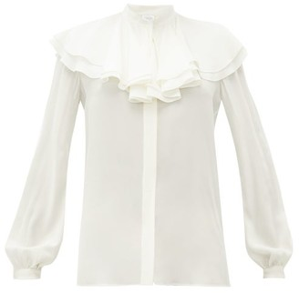Giambattista Valli Ruffled Silk-crepe Blouse - Womens - Ivory