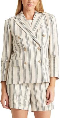 Lauren Ralph Lauren Striped Linen Twill Blazer (Cream Multi) Women's Clothing