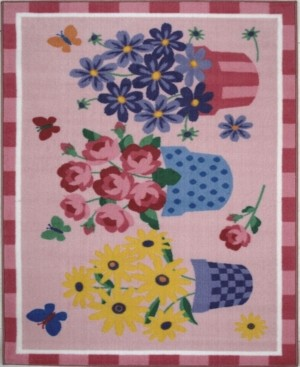 """Fun Rugs Olive Kids Blossoms Butterflies 19"""" x 29"""" Area Rug Bedding"""