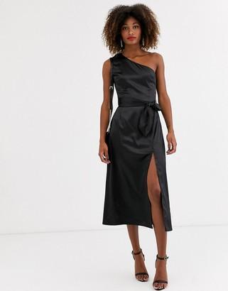 Zibi London one shoulder side slit midi dress-Black