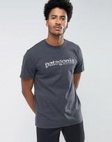Patagonia 73 Text Logo T-shirt Regular Fit In Grey Marl