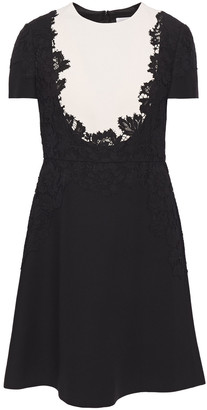 Valentino Corded Lace-appliqued Cotton-blend Cady Mini Dress