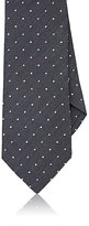Isaia MEN'S POLKA DOT-EMBROIDERED SILK-LINEN NECKTIE