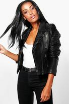 Boohoo Boutique Emily Zip Detail Leather Jacket