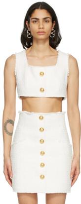 Balmain White Tweed Cropped Tank Top