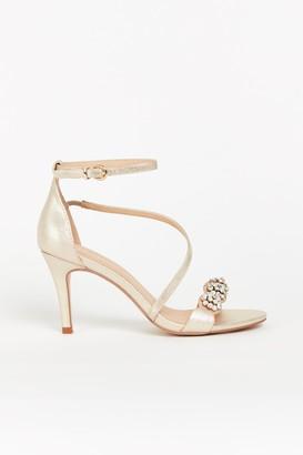 Wallis Gold Diamante Strap Heel