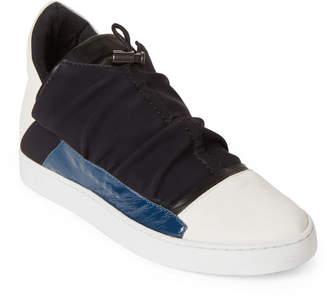 Ixos Milk & Black Leather Low-Top Sneakers