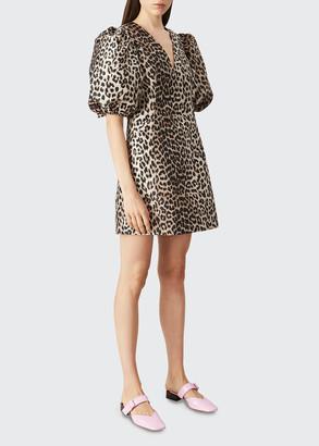 Ganni Leopard Jacquard Puff-Sleeve Mini Dress