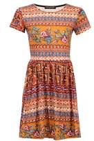 Select Fashion Fashion Womens Multi Folk Turnback Slv Skater Dress - size 8