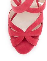 Miu Miu Suede Criss Cross Platform Sandal