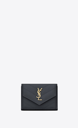 Saint Laurent Monogram Matelasse Slg Monogram Tiny Wallet In Grain De Poudre Embossed Leather Storm Onesize