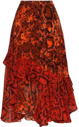 Preen by Thornton Bregazzi Delaney snake-print asymmetrical skirt