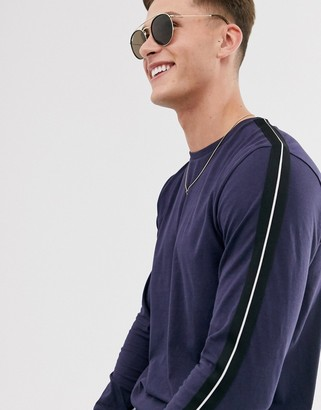 Threadbare panel long sleeve top with taping in navy